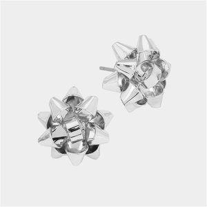 Christmas Gift Bow Earrings (Sliver)